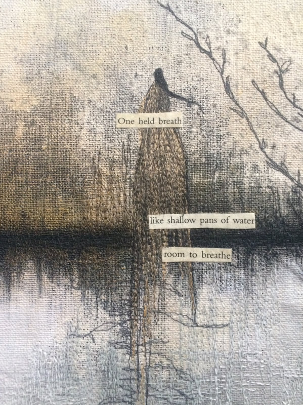One Held Breath©DeAnna Rigter, Mixed Media with Stitch.
